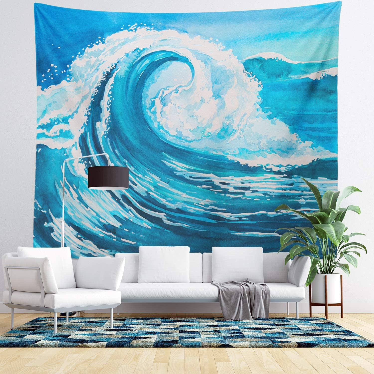 Wall Hanging Tapestry - Living Room Decor - Home Decor - Home Wall Art - Large Tapestries for Bedroom, College & Dorm (Ocean Wave Tapestry)