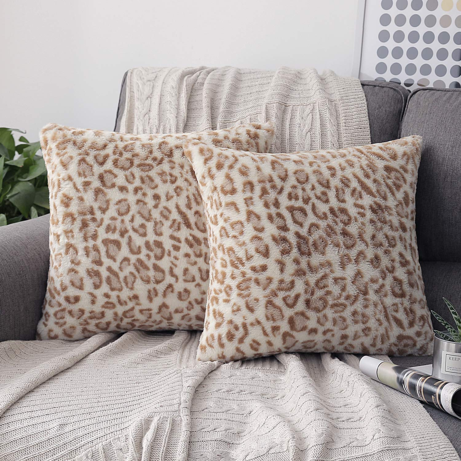 Phantoscope Set of 2 Decorative Leopard Series Soft Plush Fur Throw Pillow Case Cushion Cover Yellow 18 x 18 inches 45 x 45 cm