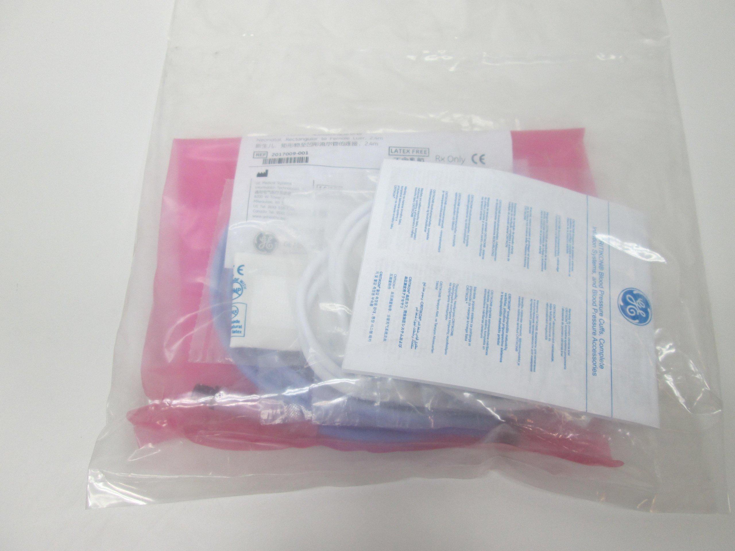 GE Healthcare 2017009-001 Blood Pressure Tubing Air Hose, Non-Invasive Blood Pressure, Neonatal, Female Slip Luer Connector, 2.4 m Length