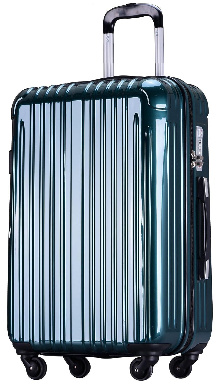 ラッキーパンダ スーツケース TY001 ハード 超軽量 TSAロック ファスナータイプ 機内持込 B07DPKZGVC Lサイズ(長期旅行向け)|ダークグリーン ダークグリーン Lサイズ(長期旅行向け)