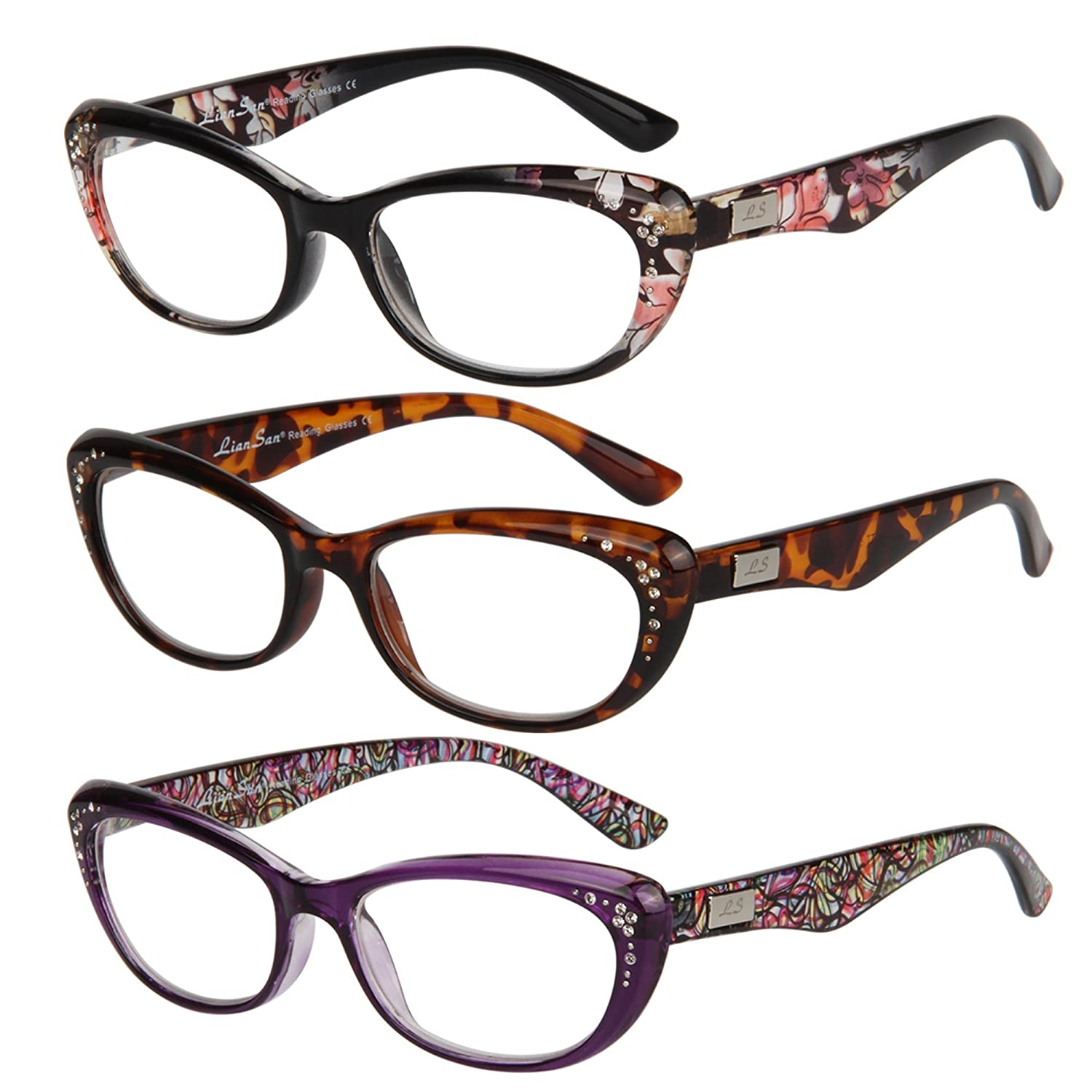 82c3f95df22 Amazon.com  Liansan Women s Designer Wayfarer Compact Cat Eye Retro Fashion Reading  Glasses 1.0 1.25 1 .5 1.75 2 00 2.25 2.50 2.75 3.0 3.25 3.5 4.0 ...