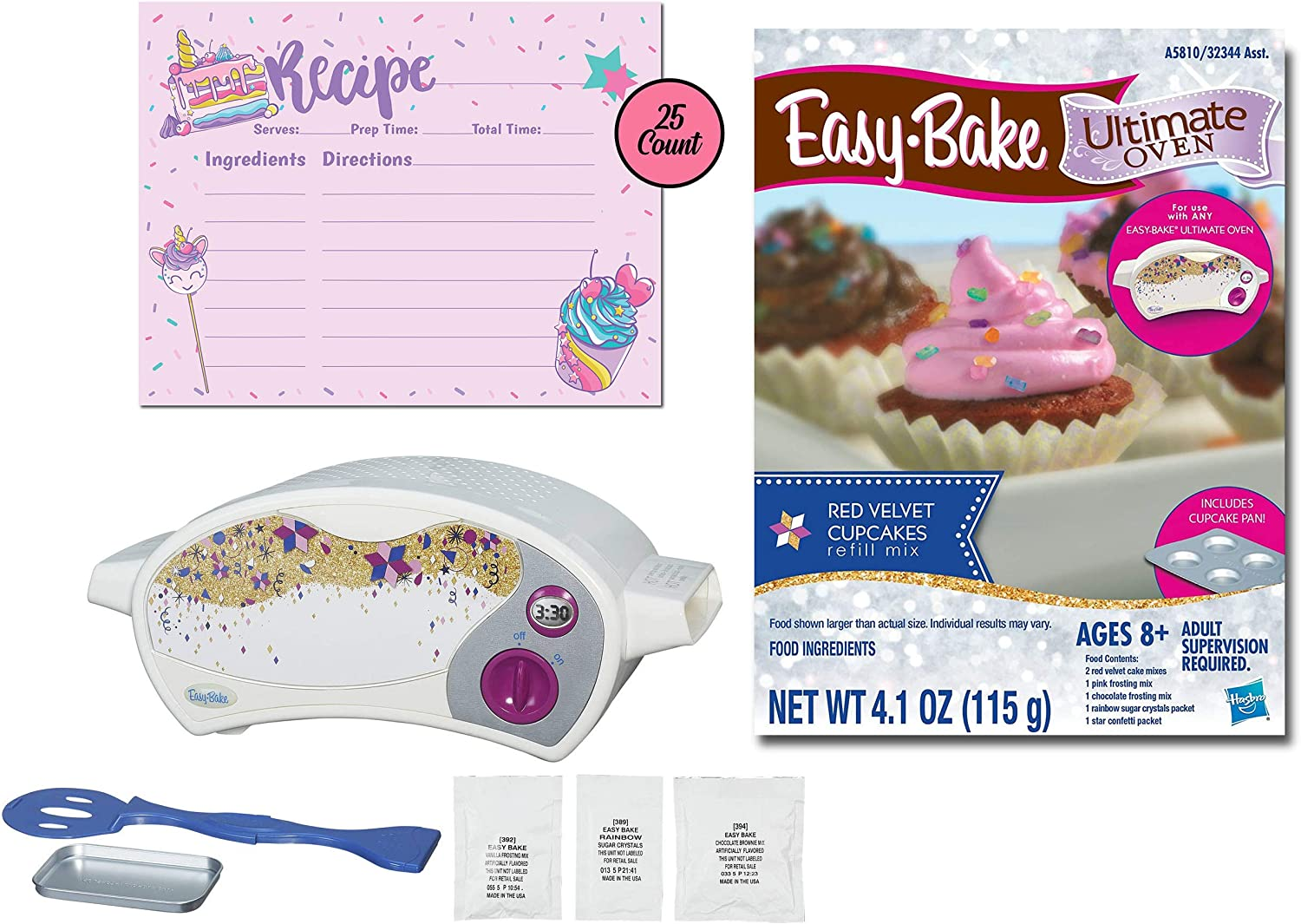 Sister Novelties Easy Bake Oven with Easy Bake Oven Mixes and Recipe Cards, Mini Oven, Easy Bake Oven for Kids, Kids Oven, Easy Bake Oven Mixes for Kids, Easy Bake Oven Food (Red Velvet Cupcakes)