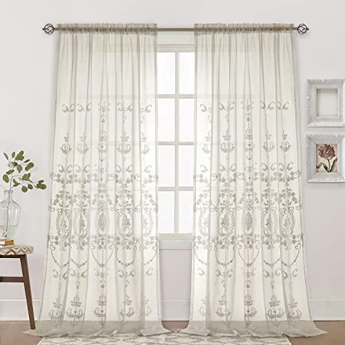 Dreaming Casa Embroidery White Sheer Curtains Europe Floral Semi Embroidered Drapes Window Treatment Rod Pocket 2 Panels 100 W x 96 L