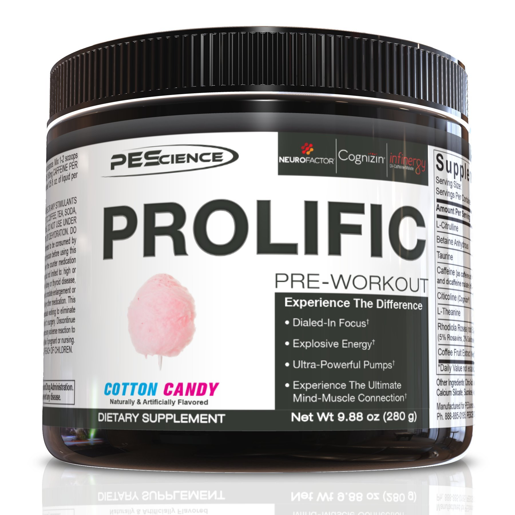 PEScience Prolific Preworkout, Cotton Candy, 20 Serving