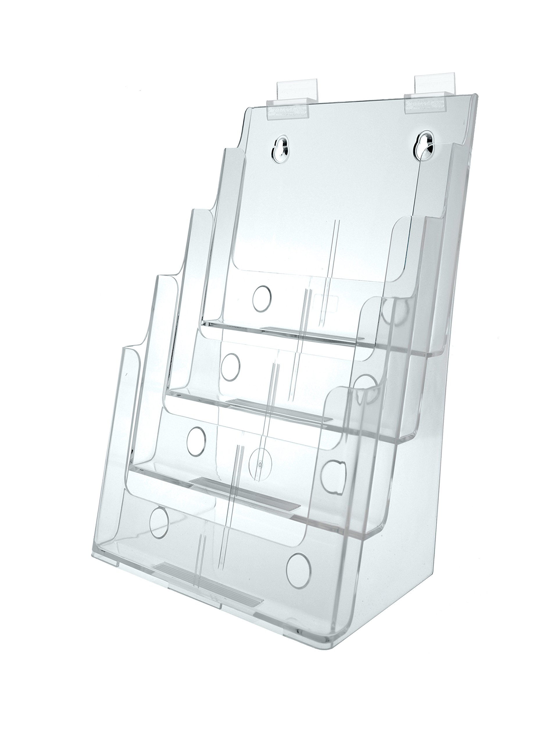 Marketing Holders Clear Acrylic 4-Tier Slatwall Brochure Holder for 8.5 Inch W Literature - Sold in Lots of 2