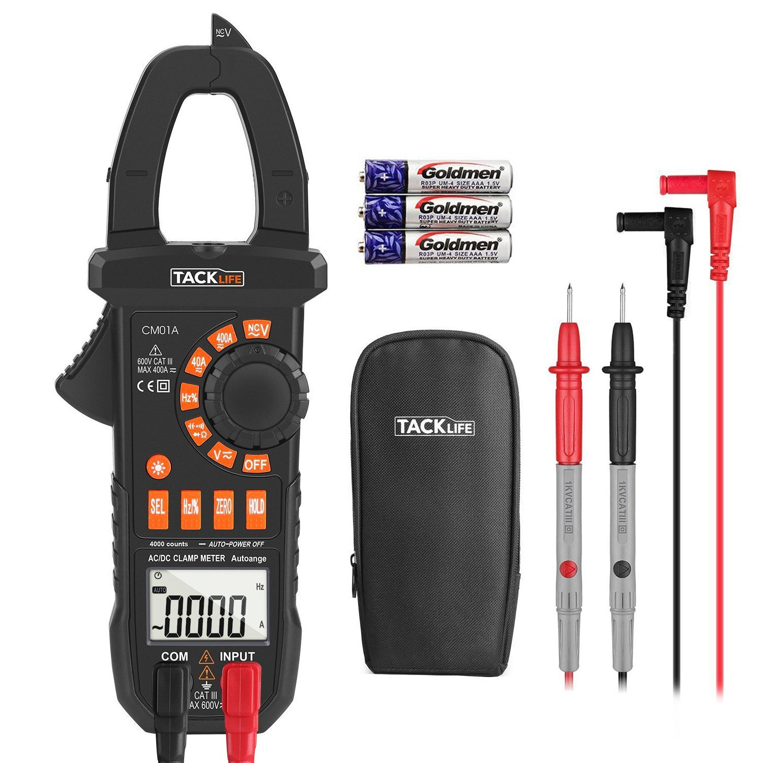 Multimeter, Tacklife CM01A Clamp Meter 4000 Counts Auto-Ranging Digital Tester with NCV, AC/DC Voltage, Current, Ohm, Continuity Electrical Tester, Diode, Resistance,Capacitance Meters by TACKLIFE (Image #1)