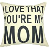 YOUR SMILE- MOM Cotton Linen Decorative Square Cushion Covers Throw Pillow Covers 18 x 18