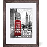 9x12 Rustic Picture Frames Wood Driftwood Brown Display Pictures 6x8 or 5x7 with Mat or 9x12 without Mat - Farmhouse Distress