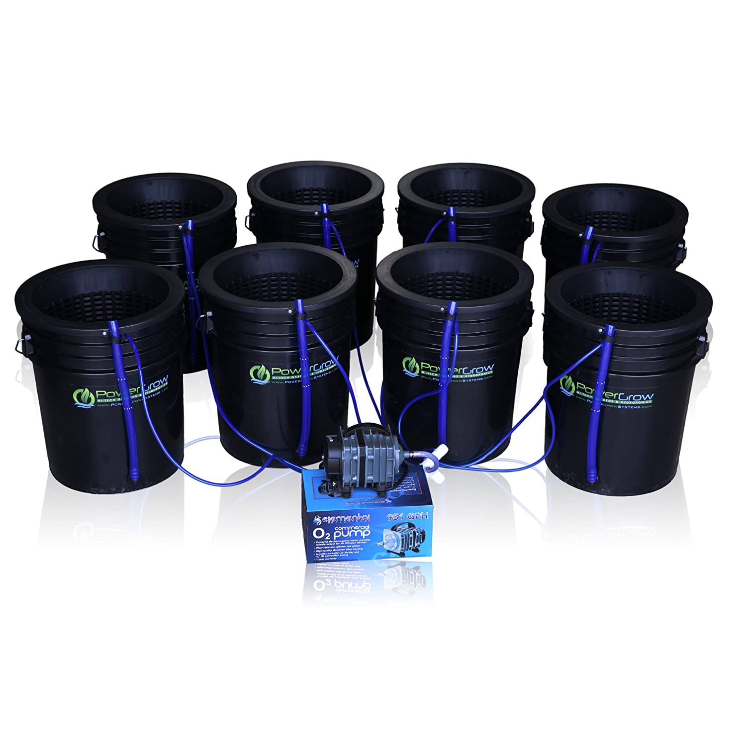 Deep Water Culture DWC Hydroponic Bubbler 8 Bucket Kit with 10 Lids by PowerGrow Systems