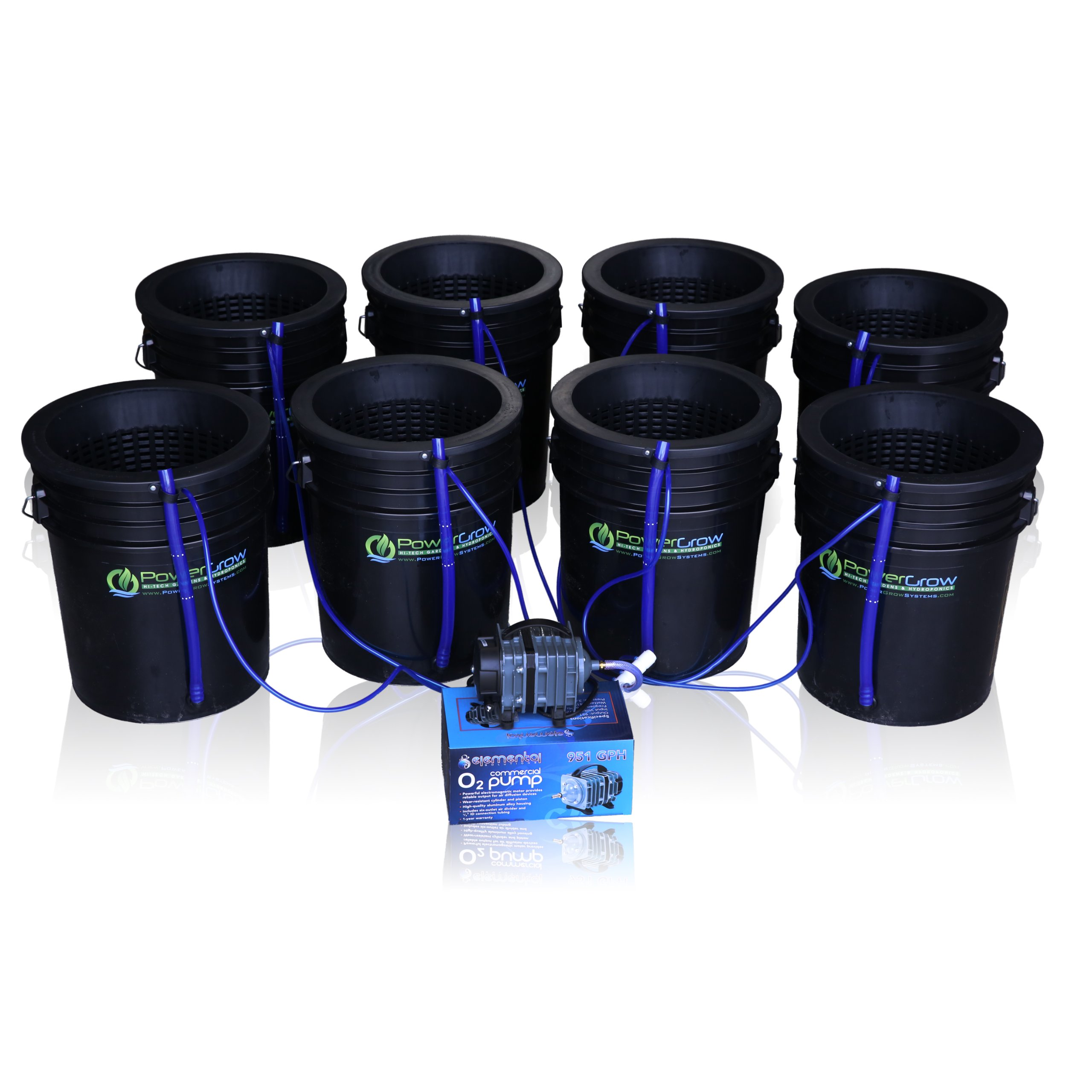 Deep Water Culture (DWC) Hydroponic Bubbler 8 Bucket Kit with 10'' Lids by PowerGrow ® Systems