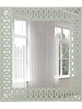 "Breeze Point 16"" x 24"" Rectangular Beveled Wall Mirror - Frameless Decorative Mirror with Light Sage Green Circular Pattern Border, Metallic Light Sage Green (M00145)"