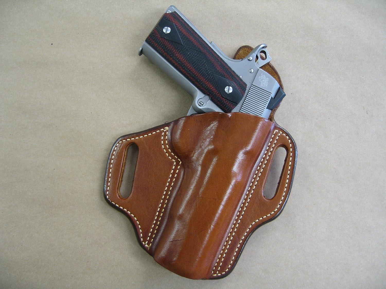 "Dan Wesson 5/"" 1911 OWB Leather 2 Slot Molded Pancake Belt Holster CCW BLACK RH"