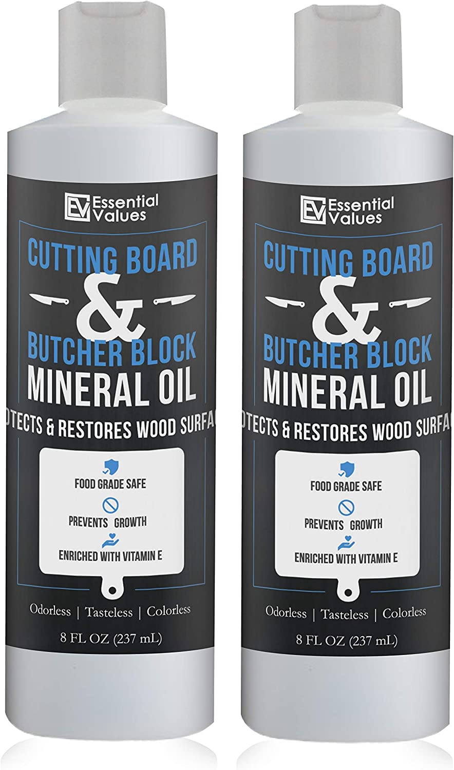 Essential Values (2 Pack) Cutting Board & Butcher Block Mineral Oil (8 fl oz) – Perfect for Protecting & Restoring Wood Surfaces, Compatible with All Wood Types & Food Grade Safe, Proudly Made in USA