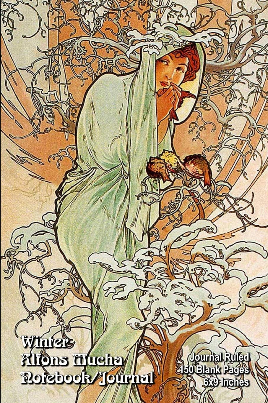 Winter - Alfons Mucha - Notebook/Journal: Journal Ruled - 150 Blank Pages - 6x9 Inches
