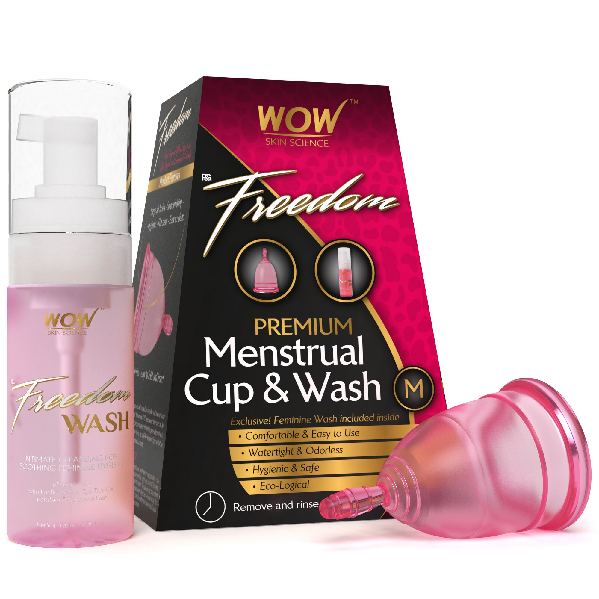 Wow Freedom Reusable Menstrual Cup and Wash Pre Childbirth - Medium (Under 30 Years) product image