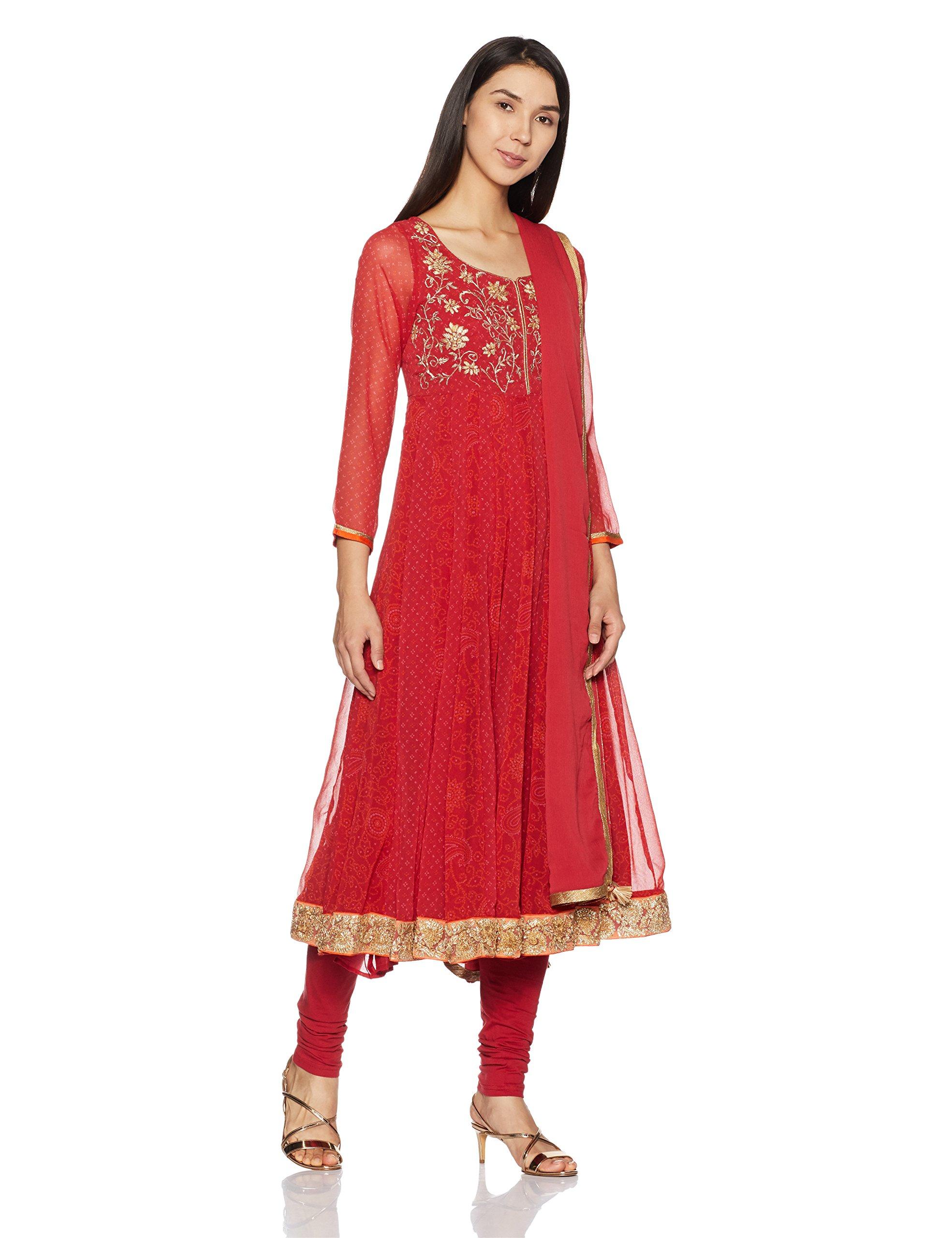 BIBA Women's Anarkali Polyester & Cotton Suit Set 32 Red