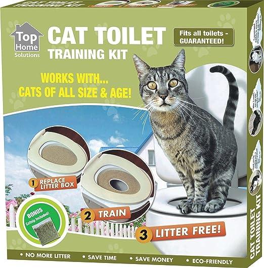 Pet Cat Asiento de inodoro Kit de entrenamiento funciona con gatos de todos los tamaños & edades: Amazon.es: Productos para mascotas