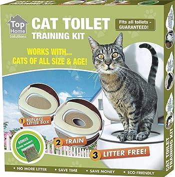 Pet Cat Asiento de inodoro Kit de entrenamiento funciona con gatos de todos los tamaños &