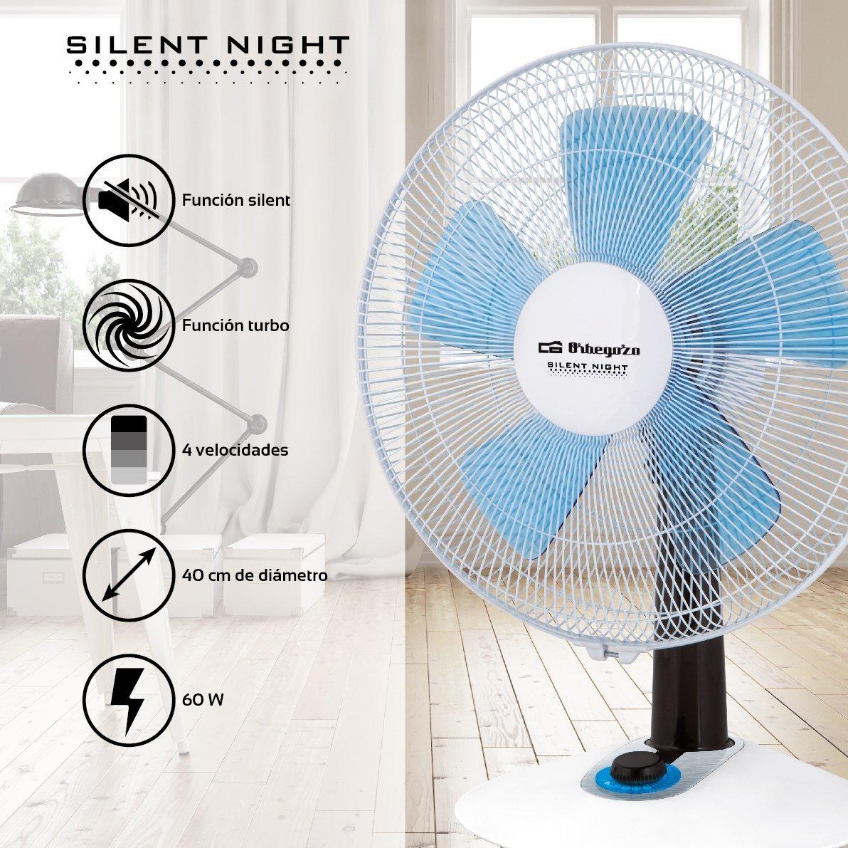 Orbegozo TF 0148 - Ventilador silencioso de sobremesa, 2 velocidades + Turbo + Silent, 40 cm de diámetro y potencia de 60 W: Amazon.es: Hogar