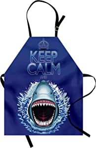Ambesonne Sea Animals Apron, Keep Calm and Shark Jaws Attack Predators Hunter Dangerous Wild Aquatic Nature, Unisex Kitchen Bib with Adjustable Neck for Cooking Gardening, Adult Size, Dark Blue