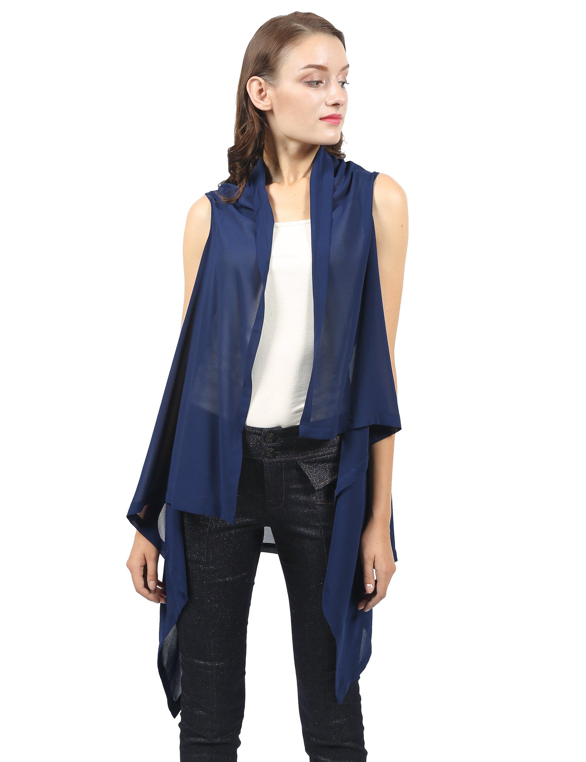 Blue Long Cardigan, Open Front Chiffon Shawl, Women Lightweight Sleeveless Vest