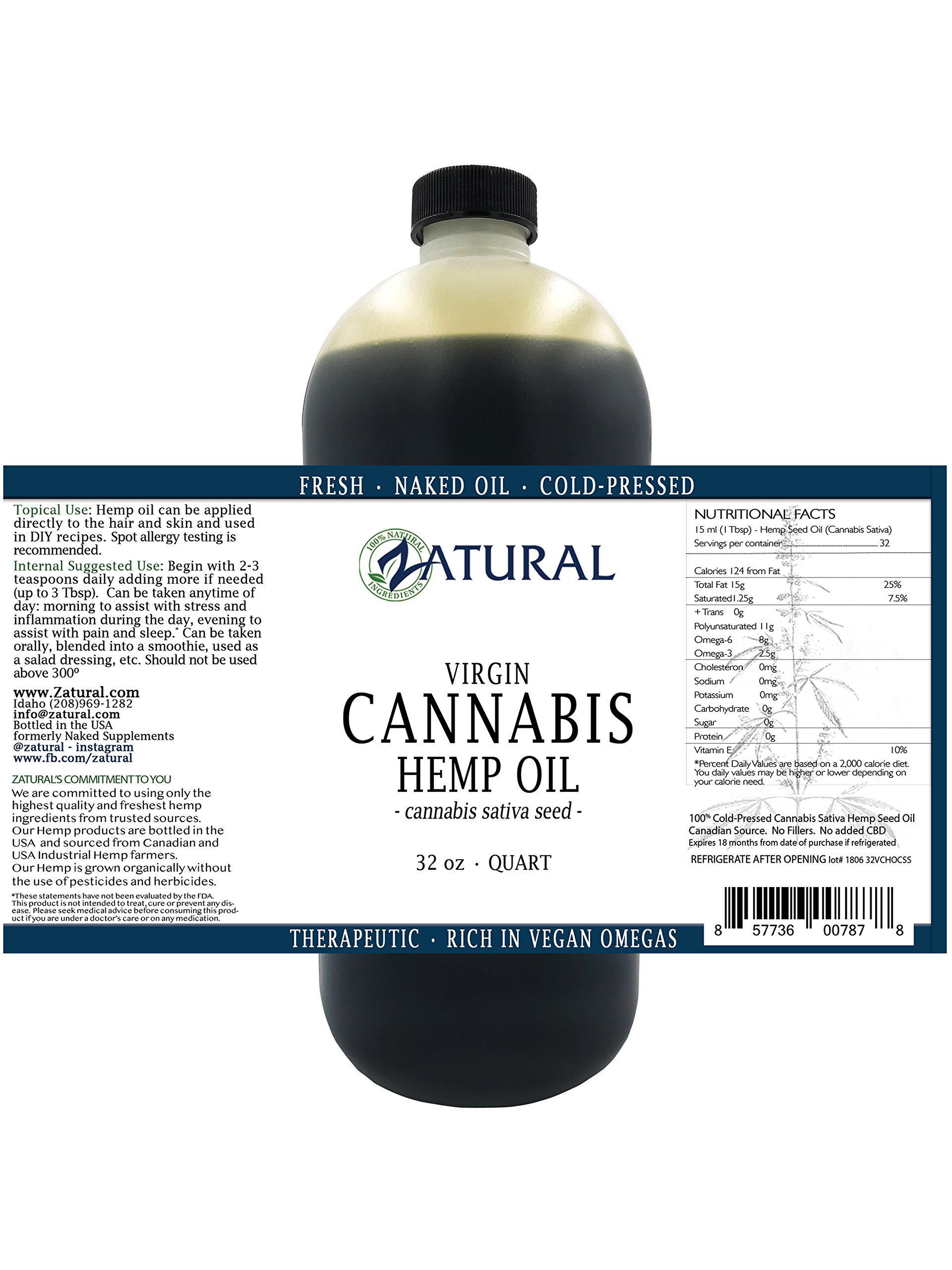 Hemp Oil- 100% Pure_No Fillers or Additives, Therapeutic Grade (NEW LOOK-SAME AMAZING PRODUCT) (32 Ounce) by Zatural (Image #3)