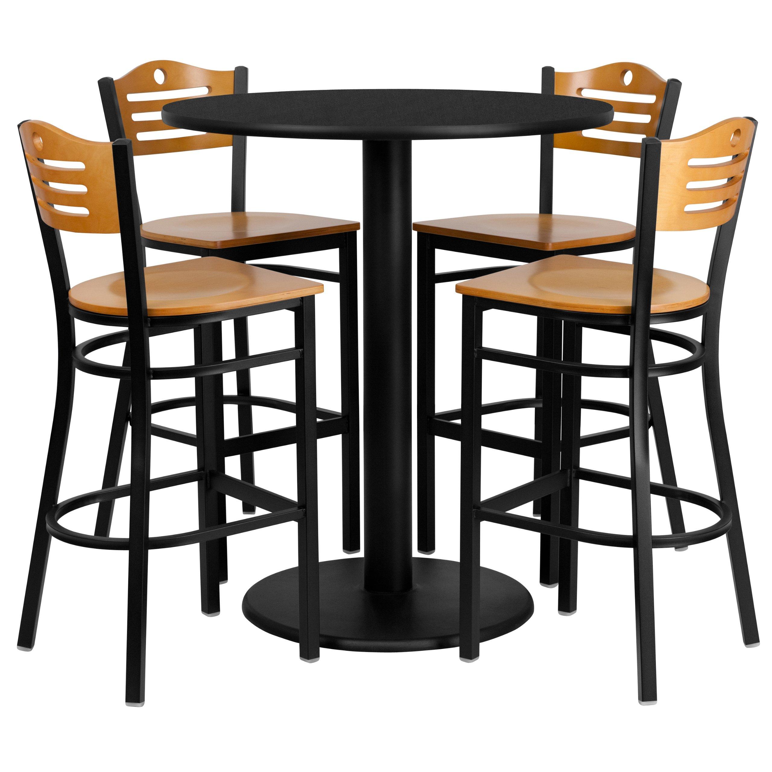 Flash Furniture 36'' Round Black Laminate Table Set with 4 Wood Slat Back Metal Barstools - Natural Wood Seat