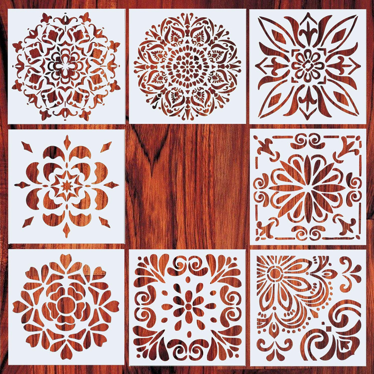 AxPower Mandala Painting Stencils Reusable Stencil Laser Cut Painting Template Floor Wall Tile Fabric Furniture Stencils, Set of 8 (6x6 inch) by AxPower
