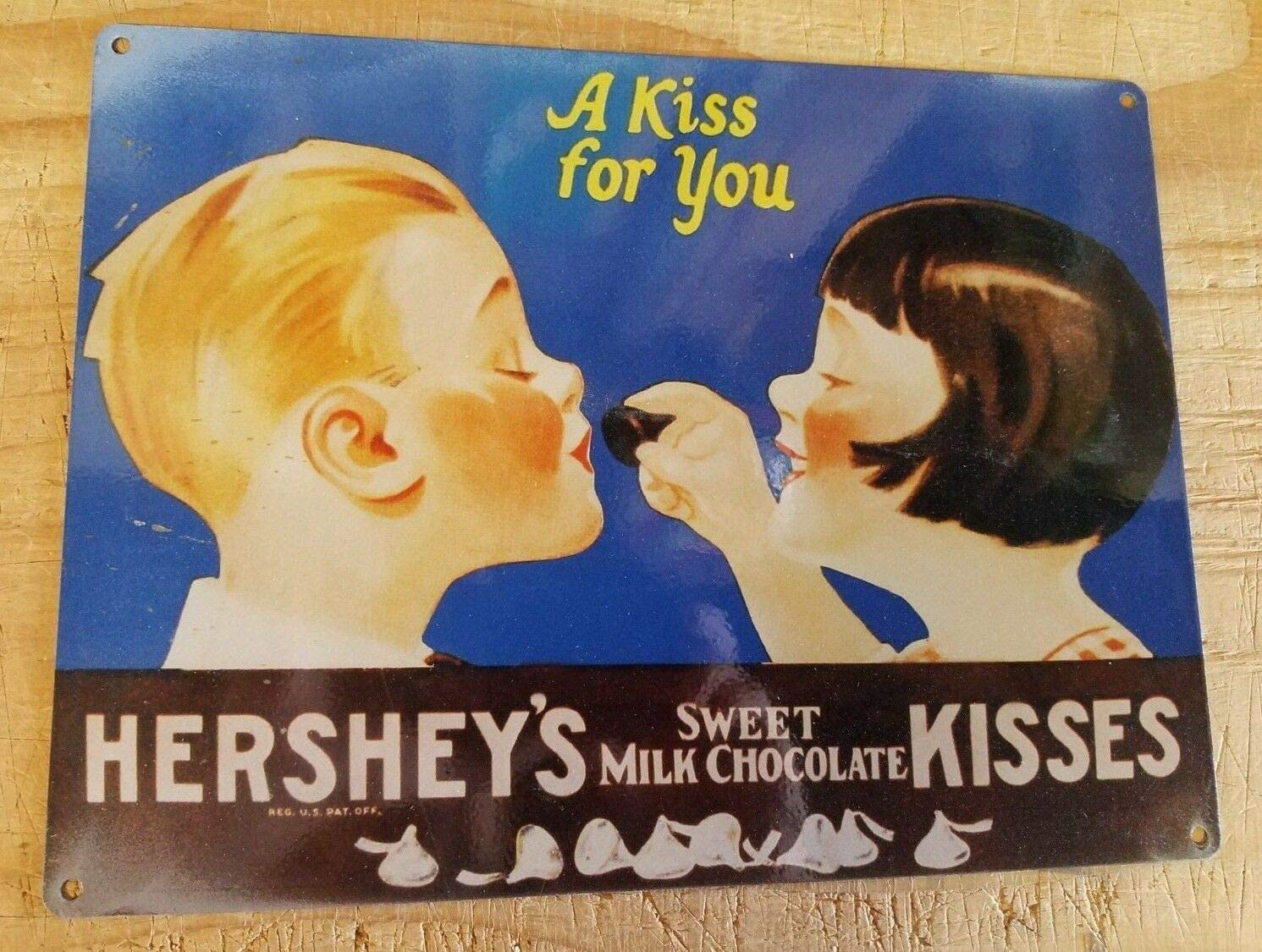 Hersheys A Kiss for You Vintage Poster Decorative Steel Sign Reproduction Aluminum Metal Signs Tin Plaques Wall Poster for Garage Man Cave Beer Cafee Bar Pub Club Home Decor 8