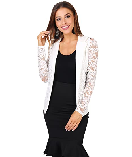 06ba7ece840 Contrast Lapel Lace Blazer (9366-CRM-S) Cream at Amazon Women s Clothing  store