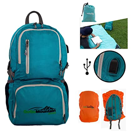 a56137990a6 GoGoMountain Hiking Foldable Backpack with USB Charger, Includes Free  Waterproof Pocket Blanket Plus Waterproof Daypack