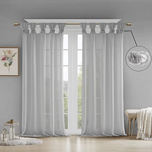 Madison Park Rosette Floral Embellished Cuff Tab Top Solid Window Treatments Curtain Panel Drape for Bedroom Living Room and Dorm, 50 x95 , Grey