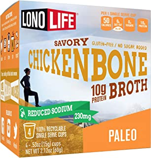 product image for LonoLife Reduced Sodium Chicken Bone Broth Powder with 10g Protein, Paleo and Keto Friendly, Single Serve Cups, 4 Count