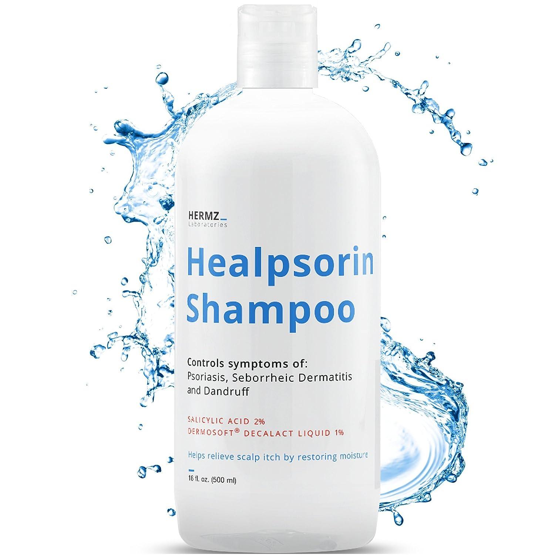 Shampooing Healpsorin 500 ml pour le traitement du psoriasis, avec 2% d'acide salicylique & 1% de Dermosoft Decalat Hermz Laboratories