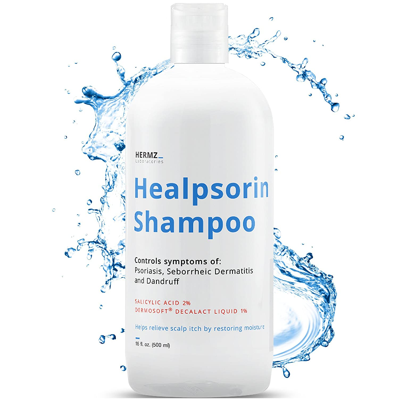 Therapeutic Psoriasis Shampoo (500ml) Salicylic Acid 2% & Dermosoft 1% - Treatment for Dry, Itchy & Flaky Scalp - Severe Dandruff, Dermatitis - Healpsorin Hermz Laboratories