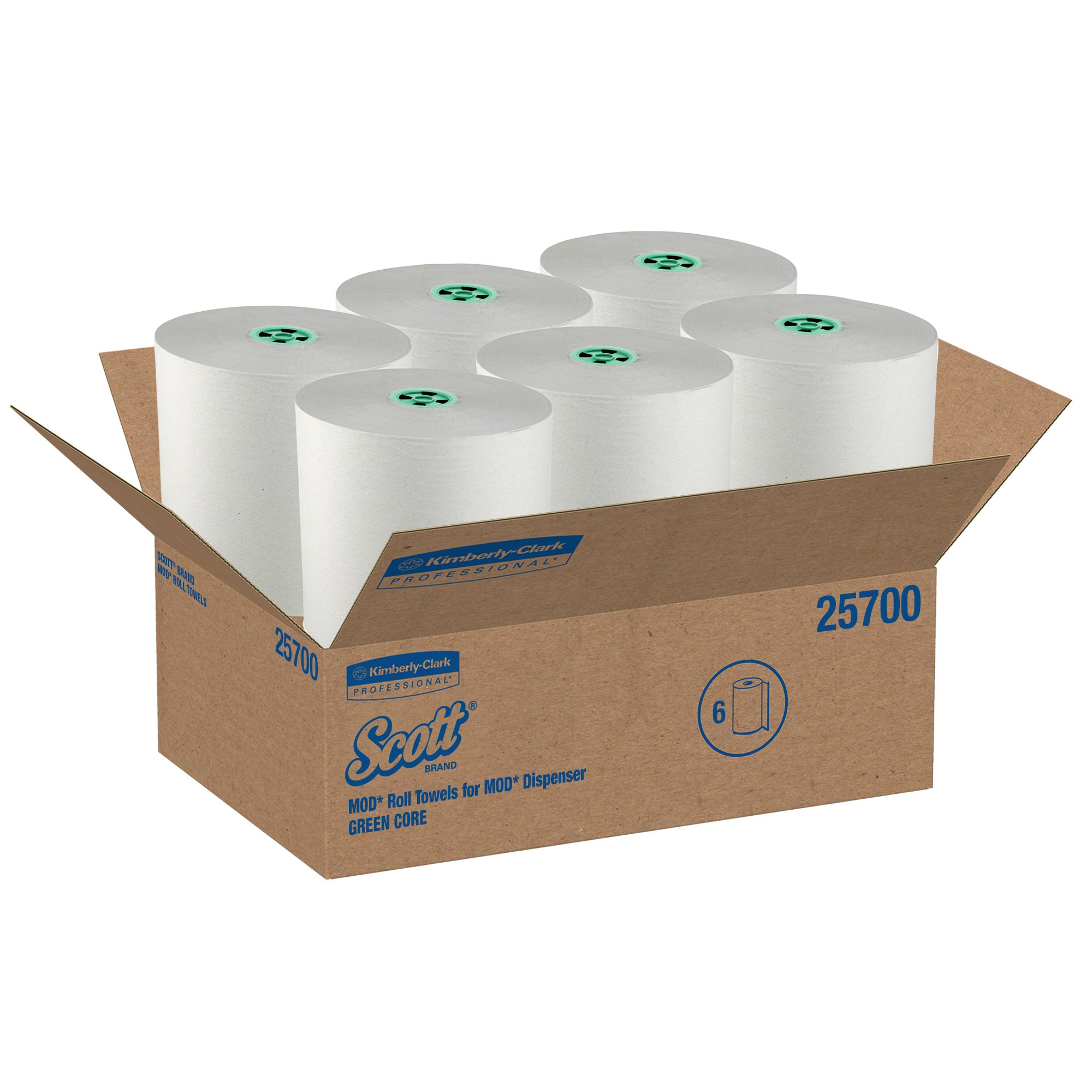 Scott Pro Hard Roll Paper Towels (25700) with Absorbency Pockets, for MOD Dispenser (Green-Colored Core only), 1150' / Roll, 6 White Rolls / Case, 6,900 feet by Kimberly-Clark Professional (Image #4)