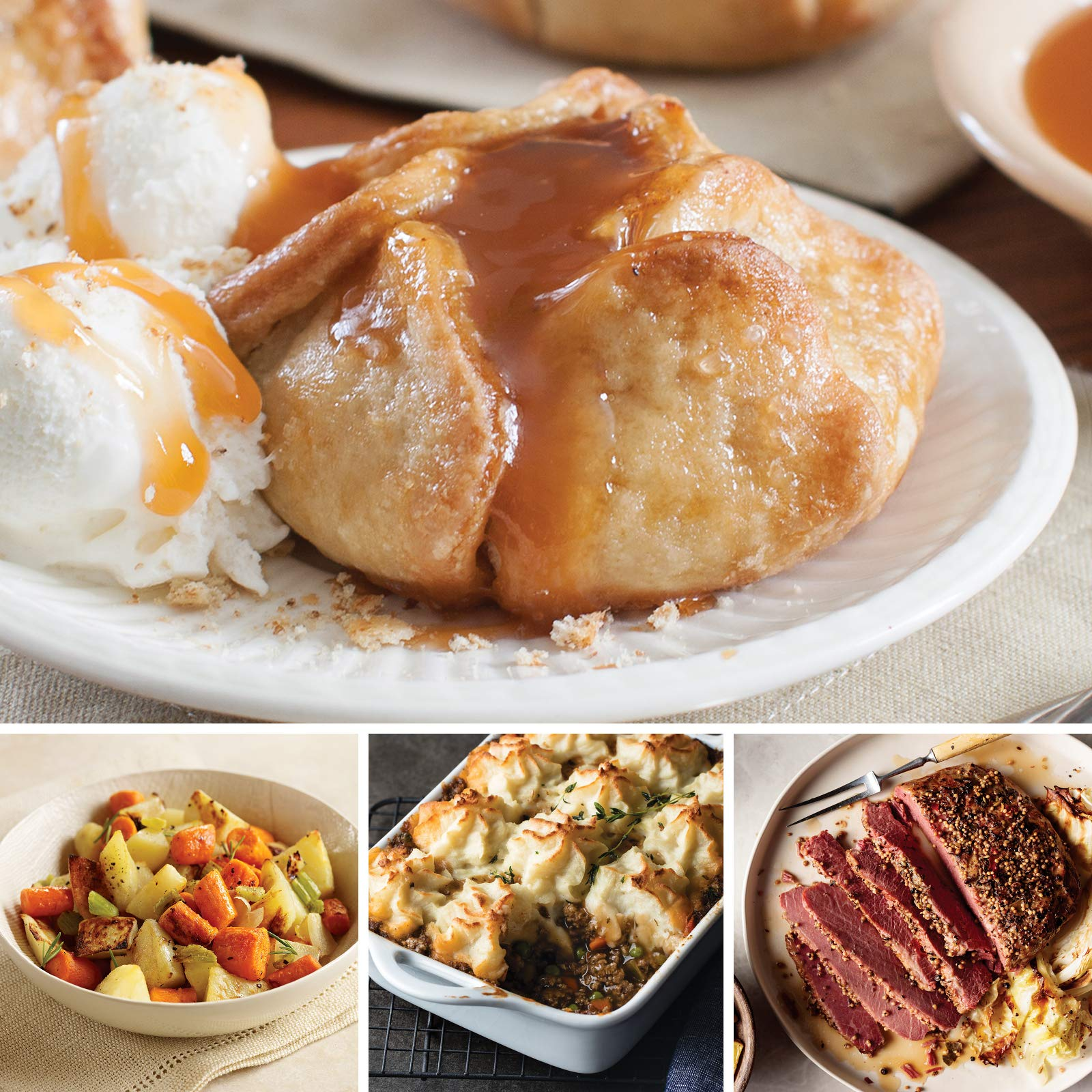 Omaha Steaks St. Patrick's Day Dinner Collection (7-Piece with Beef Shepherd's Pie, Rustic Corned Beef, Rustic Roasting Vegetables, and Individual Caramel Apple Tartlets)