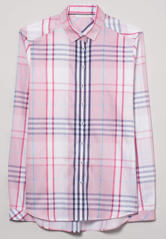 Eterna Long Sleeve Blouse Modern Classic Checked Rosa/Blu/Bianco