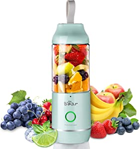 Bear Personal Size Portable Blenders, USB Rechargeable Mini Smoothies Blenders with 11.84oz BPA Free Travel Sports Bottle and Lid, Small Travel Blenders Juicer Cup for Shakes and Smoothies