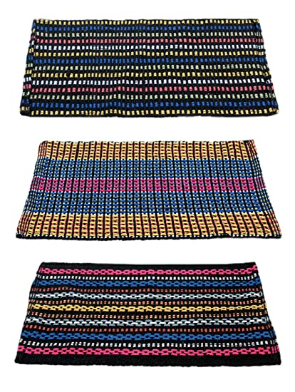 Story@Home Traditional Style Eco Series Cotton Blend 3 Piece Door Mat - 16x24, Multicolor
