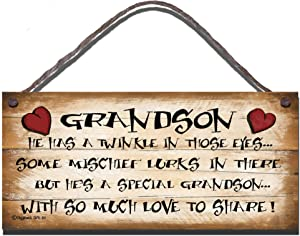 Gigglewick Gifts Shabby Chic Wooden Funny Sign Wall Plaque. Grandson He Has A Twinkle in Those Eyes Some Mischief Lurks in There But He's A Special Grandson with So Much Love to Share