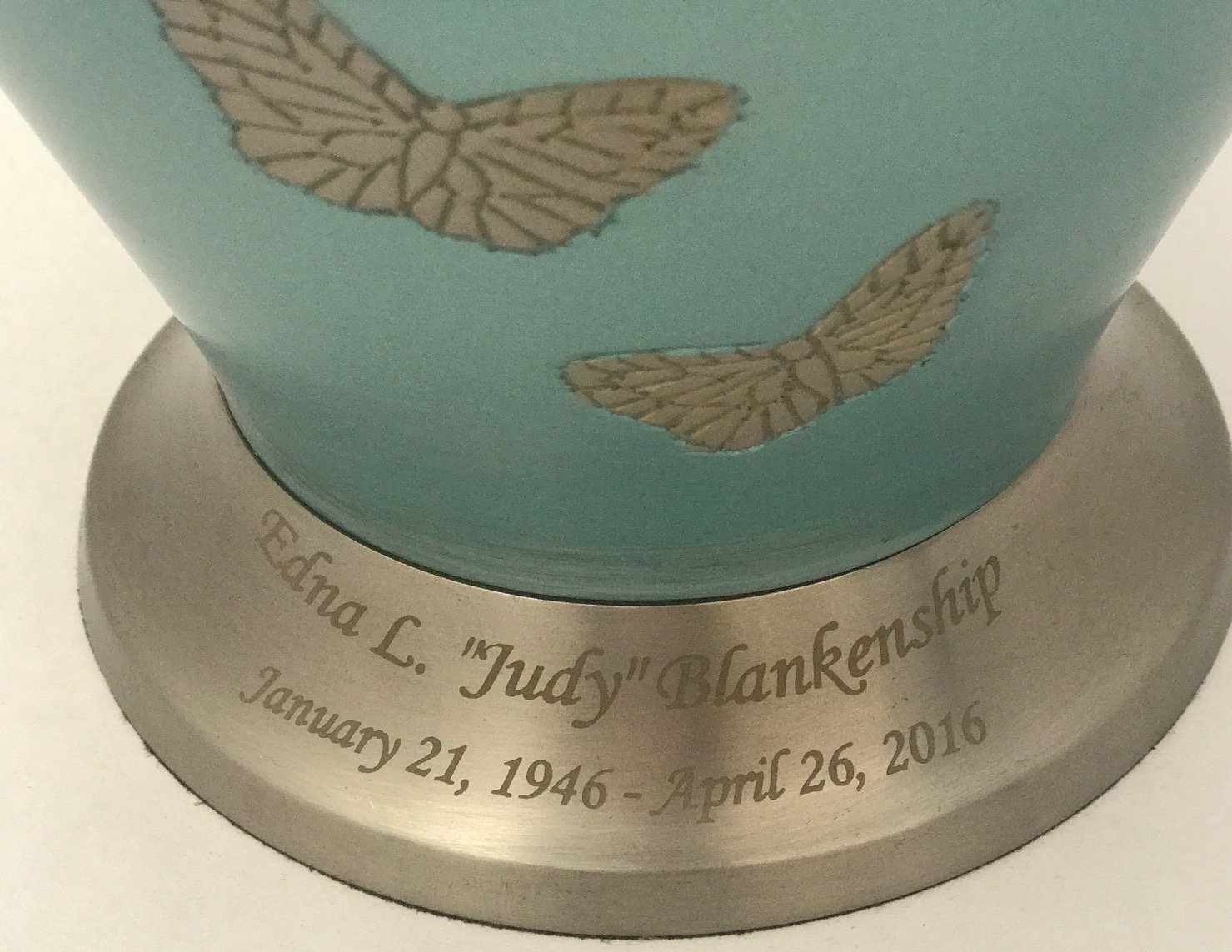 Customized Adult Butterfly Cremation Urn, Blue Funeral Urns With Keepsake and Personalisation by NWA (Image #2)