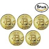 ビットコイン Bitcoin Collectible ギフト バーチャル レプリカ 仮想 通貨 コイン グッズ アートコレク メッキ ライトコイン 記念硬貨 コレクション 五枚入り (ゴールド)