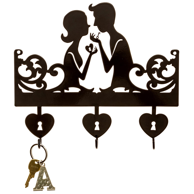 3 hook key holder Key Rack Organizer for Entryway and Kitchen Black metal key hanger BlinknWink Key to Your Heart Key Holder Key Holder for Wall Wall Mount Housewarming Gift