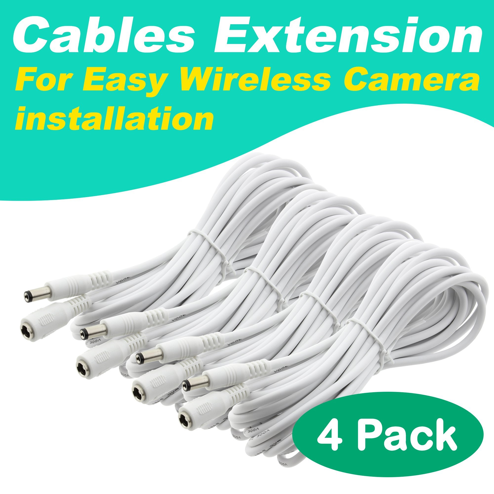 [4 Pack] Crystal Vision Premium HD Wireless Camera Power Extension for Crystal Vision