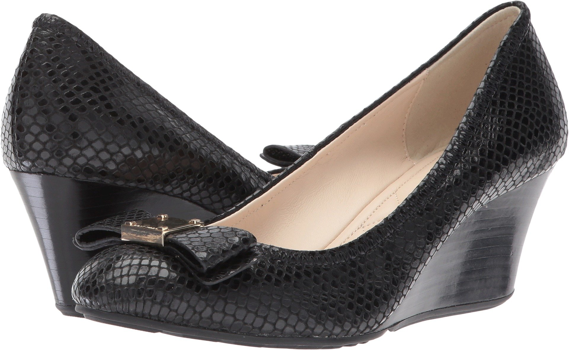Cole Haan Women's Tali Grand Lace Wedge 40, Black Snake Print, 7 B US