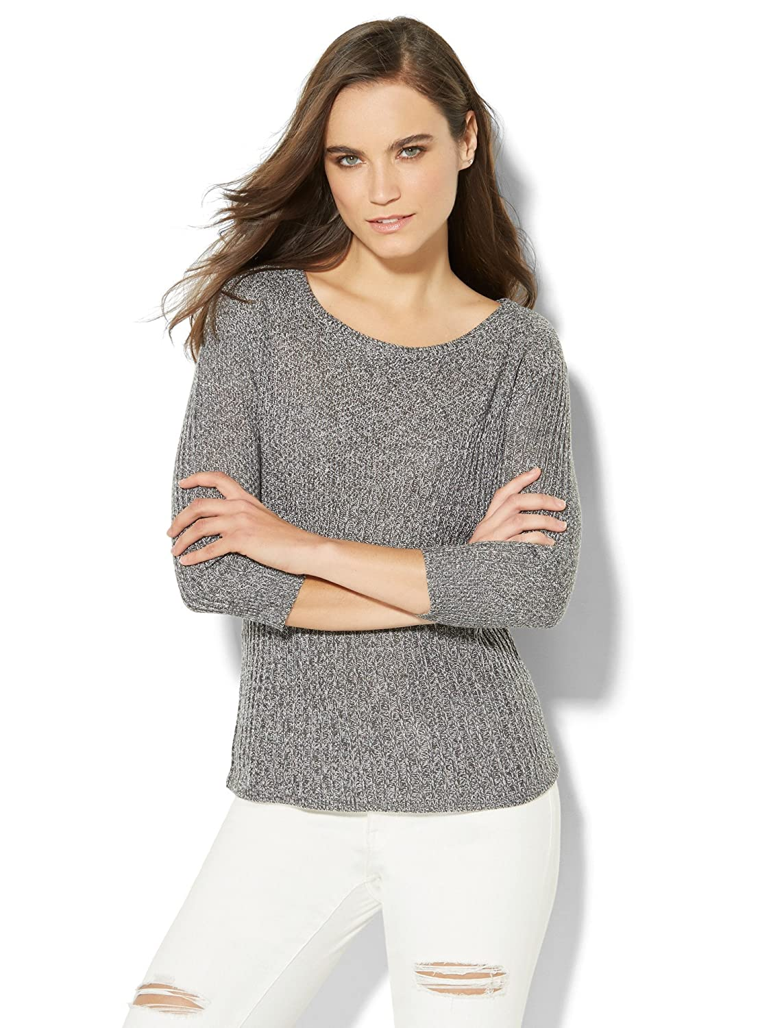 New York & Co. Women's Marled Zip-Accent Mixed-Knit Sweater
