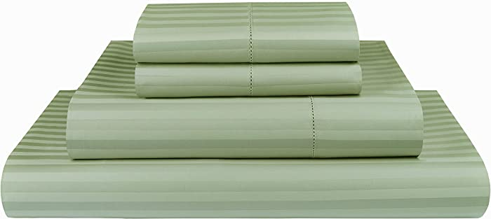 Threadmill Home Linen 600 Thread Count 100% Cotton Sheets, 1CM Damask Stripe Beige, ELS Cotton Bed Sheets, Sateen Fits Mattress Up to 18'' Deep Pocket (Queen, Damask Sage)