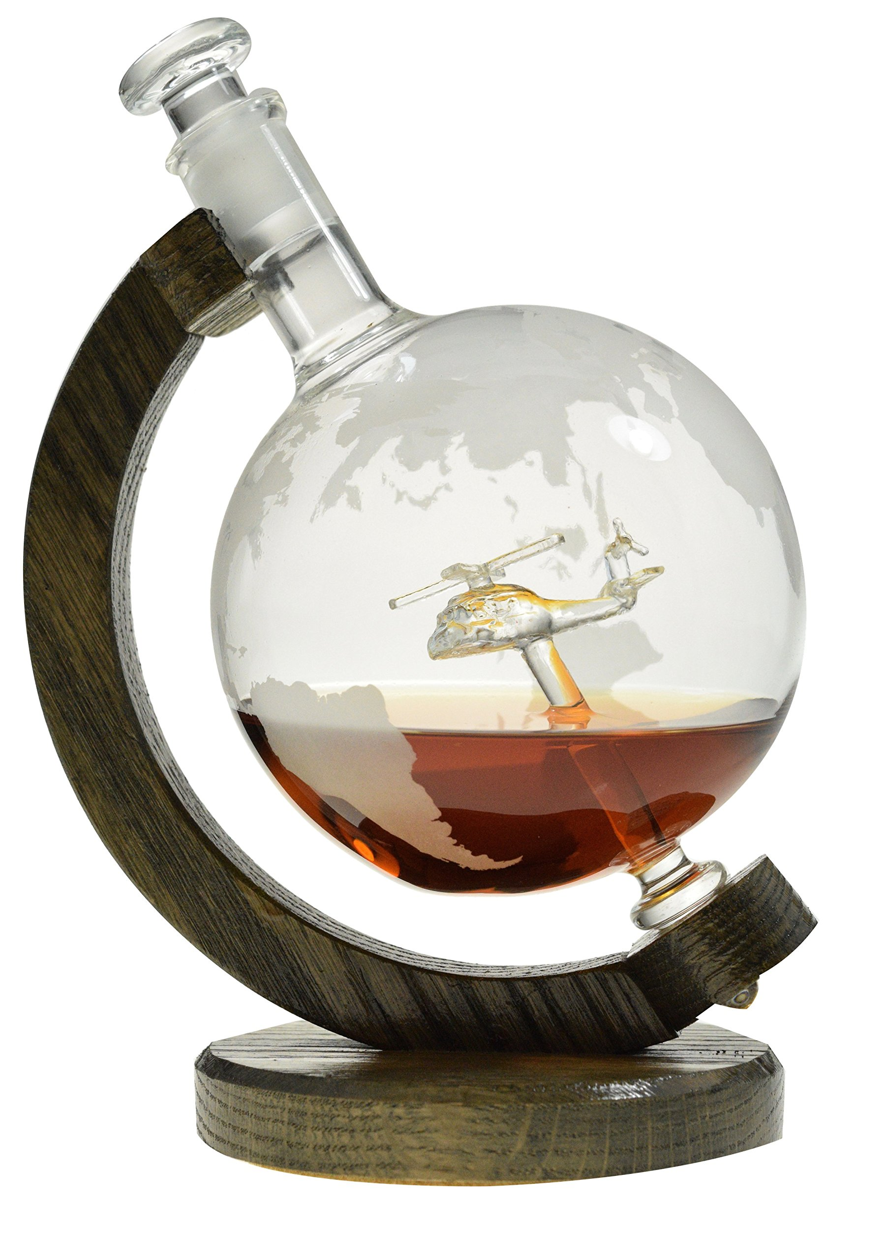 Helicopter within Etched Globe Liquor Decanter - Scotch Whiskey Decanter - 1000ml Glass Decanter for Alcohol - Vodka, Bourbon, Rum, Wine, Tequila - (Helicopter by Prestige Decanters)