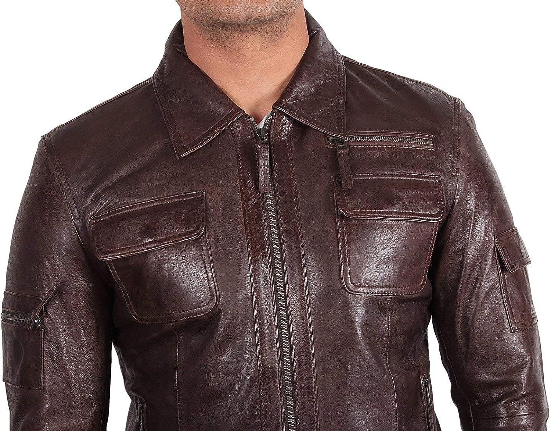 BRANDSLOCK Mens Genuine Leather Biker Jacket Lambskin Slim Fit